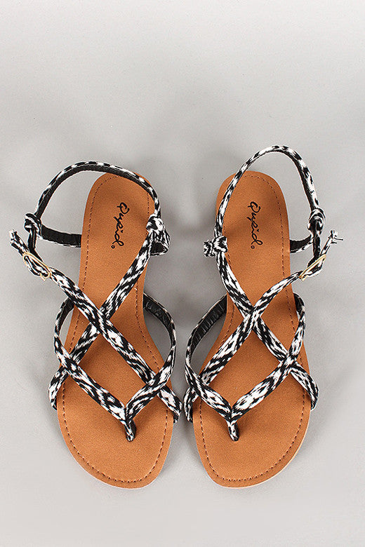 Black and White Strappy Sandal