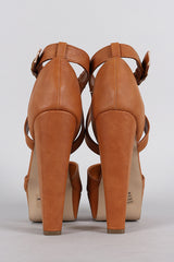 Chunky Tan Ankle Strap Heels