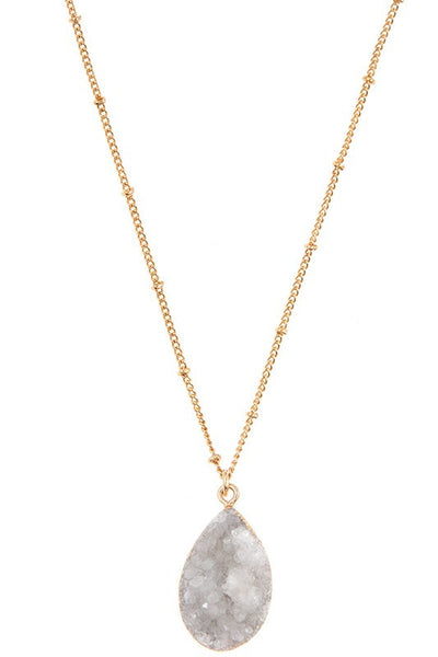 White Teardrop Stone Necklace