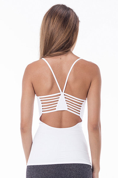 White Criss Cross Back Workout Spaghetti
