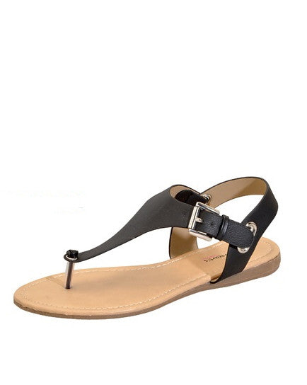 solid black buckle sandal