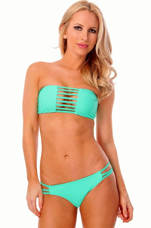 Peek-A-Boo Bandeau Bikini in Mint