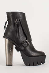 Black Metal Studded Heel Bootie