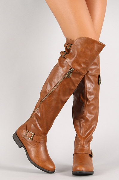 Chestnut Side Zipper Thigh High Boot