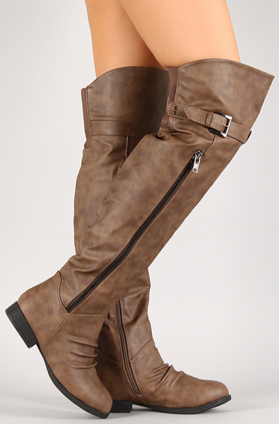 Cognac Slouchy Side Zipper Boot