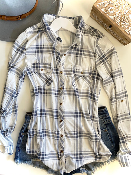 LIGHT BLUE GREY/WHITE FLANNEL