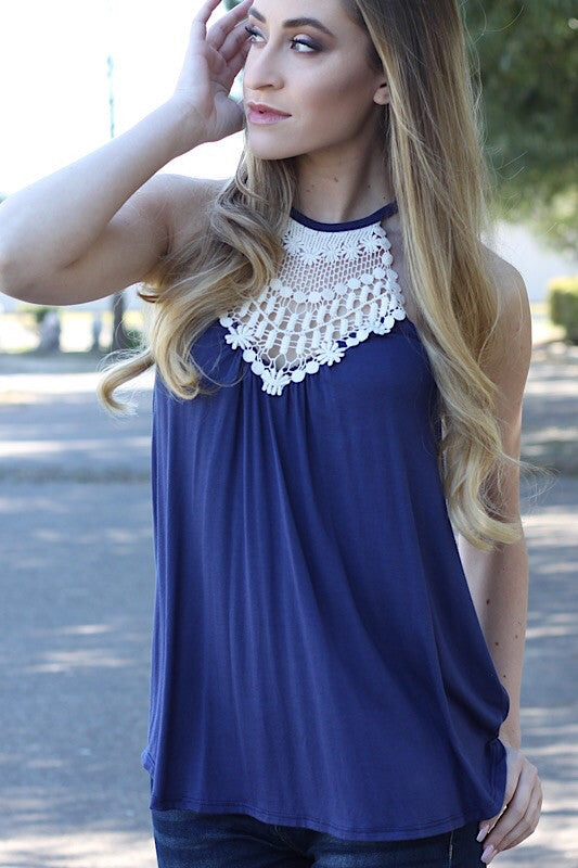 Navy Blue Crochet Halter