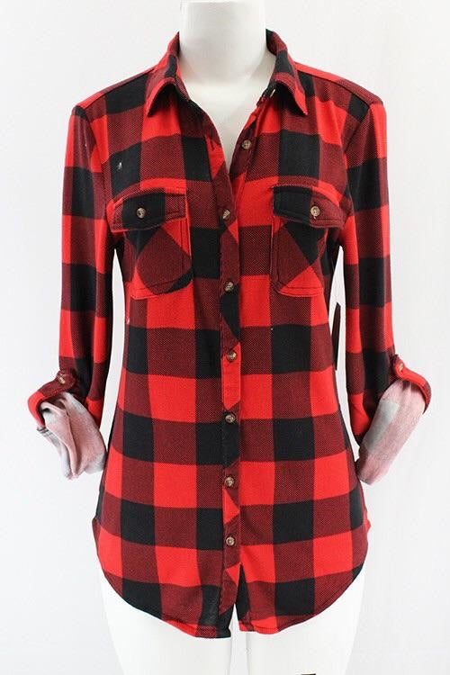 RED/BLACK BUFFALO PLAID FLANNEL