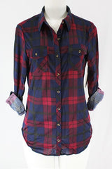Red/Navy Slim Fit Flannel