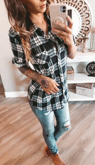 NAVY/WHITE  FLANNEL