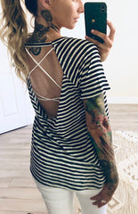 Backless Striped Trinity Tee