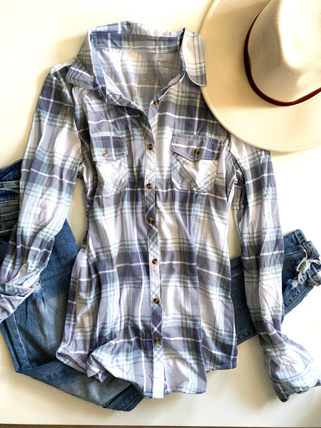 White/Sage/Blue Combo Flannel