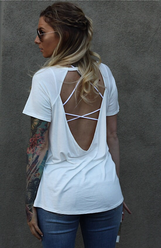 Backless Trinity Tee in White