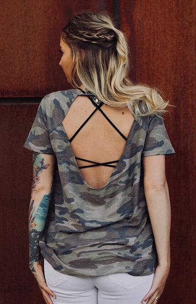 Backless Trinity Tee in Camo