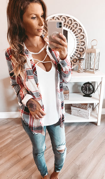 White/Red Combo Flannel