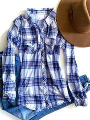 White/Blue Plaid Flannel