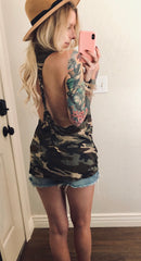 Camo Backless Braided Blouses