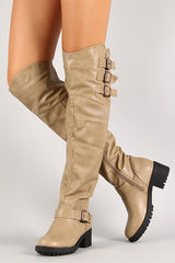 Khaki Triple Buckle Thigh High Boot