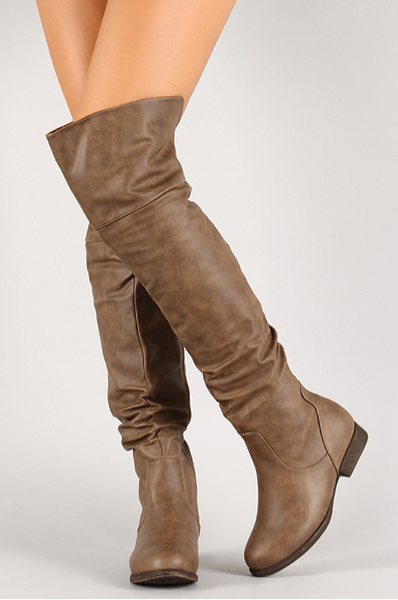 Cognac Thigh High Slouchy Boot