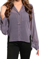 Purple Sheer Button Down