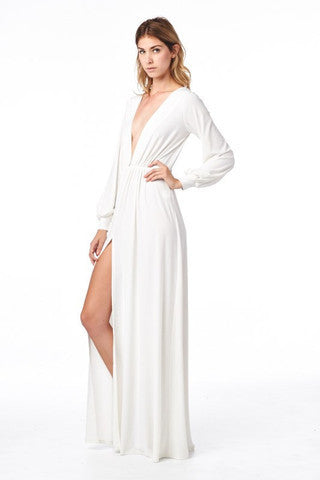 White Deep V Long Sleeve Maxi