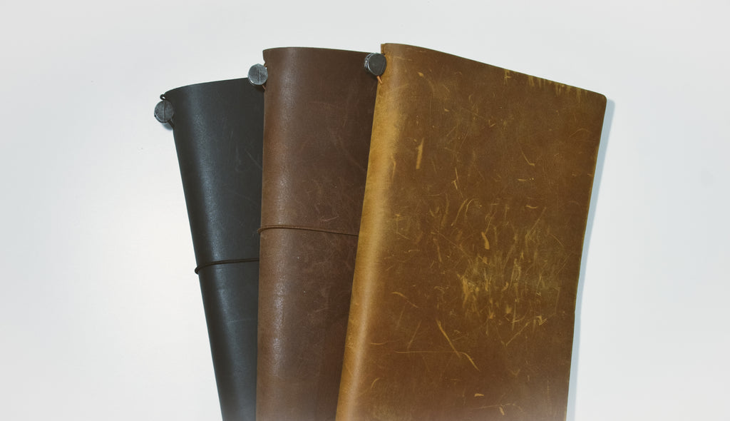 travelers notebook colors, black, brown, camel