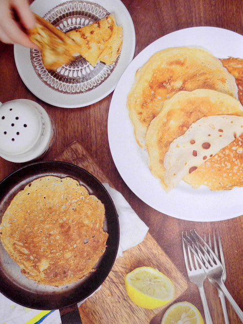 Leon: Baking & Desserts book available in Vancouver home decor store. This photo featured is showing Spelt Pancakes