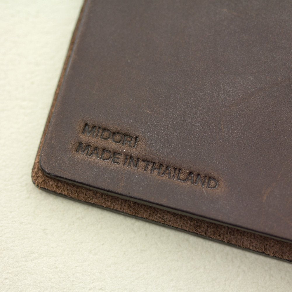 Midori Traveler's Notebook Passport Size Leather Cover in Brown