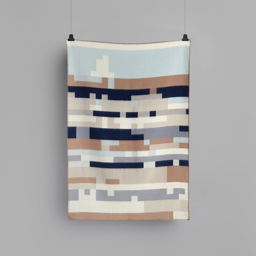 Roros Tweed Bergstaden Throw in Beige Blue