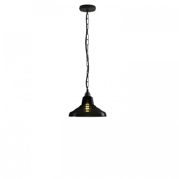 Glass School Pendant Light, Size 1, Anthracite and Weathered Brass