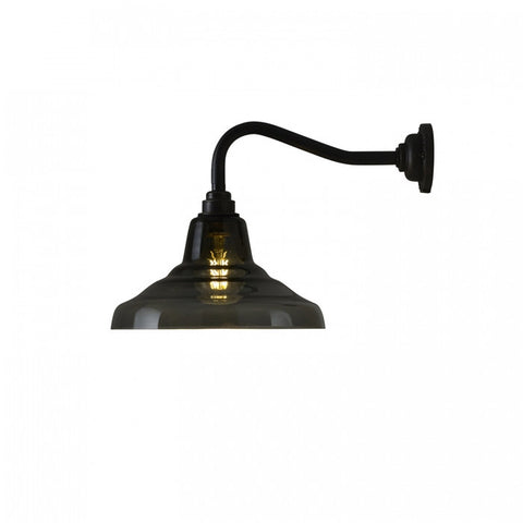 Glass School Wall Light, Size 1, Anthracite and Weathered Brass
