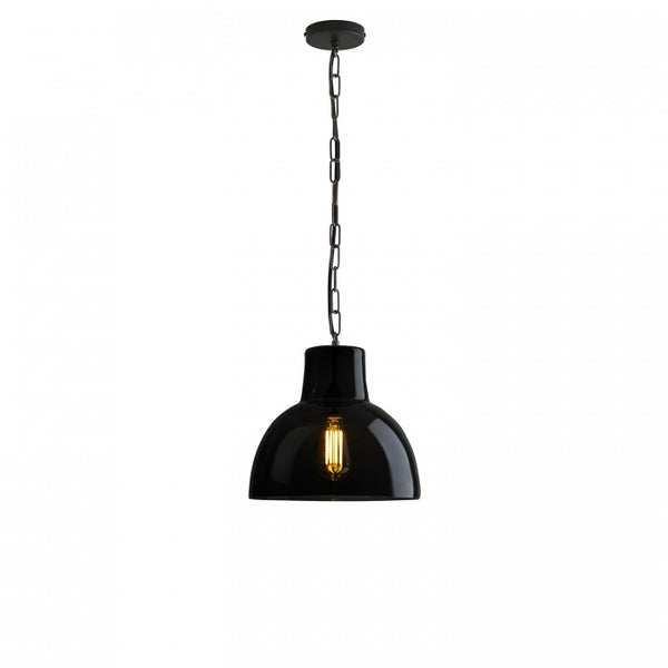 Glass York Pendant, Size 2, Anthracite and Weathered Brass