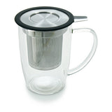 Forlife NewLeaf Glass Tall Tea Mug with Infuser & Lid