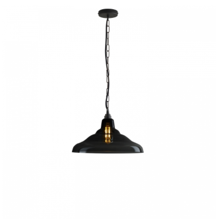 Glass School Pendant Light, Size 2, Anthracite and Brass