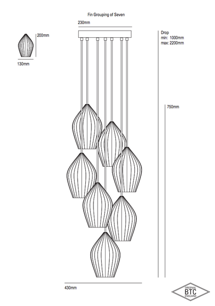 Fin Grouping of Seven Pendant