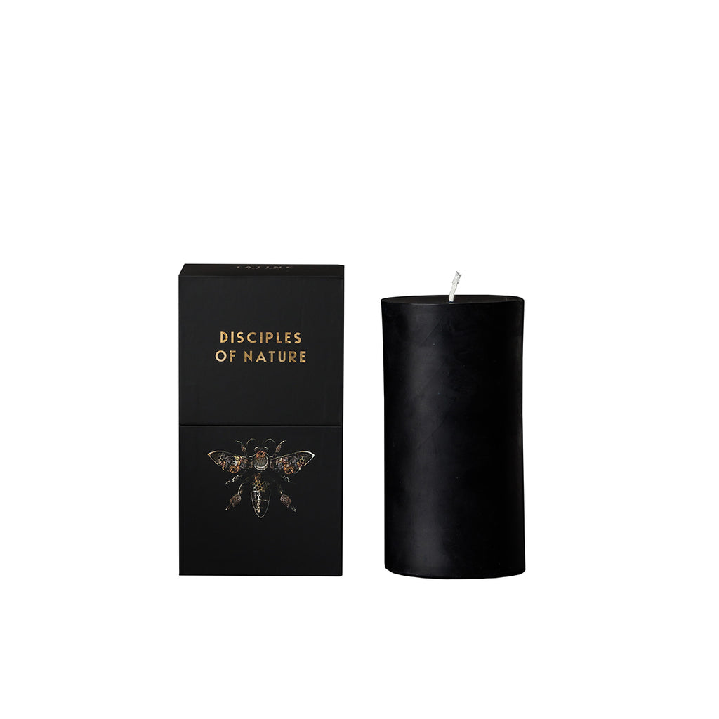 Tatine Pure Beeswax Pillar Candle in Black