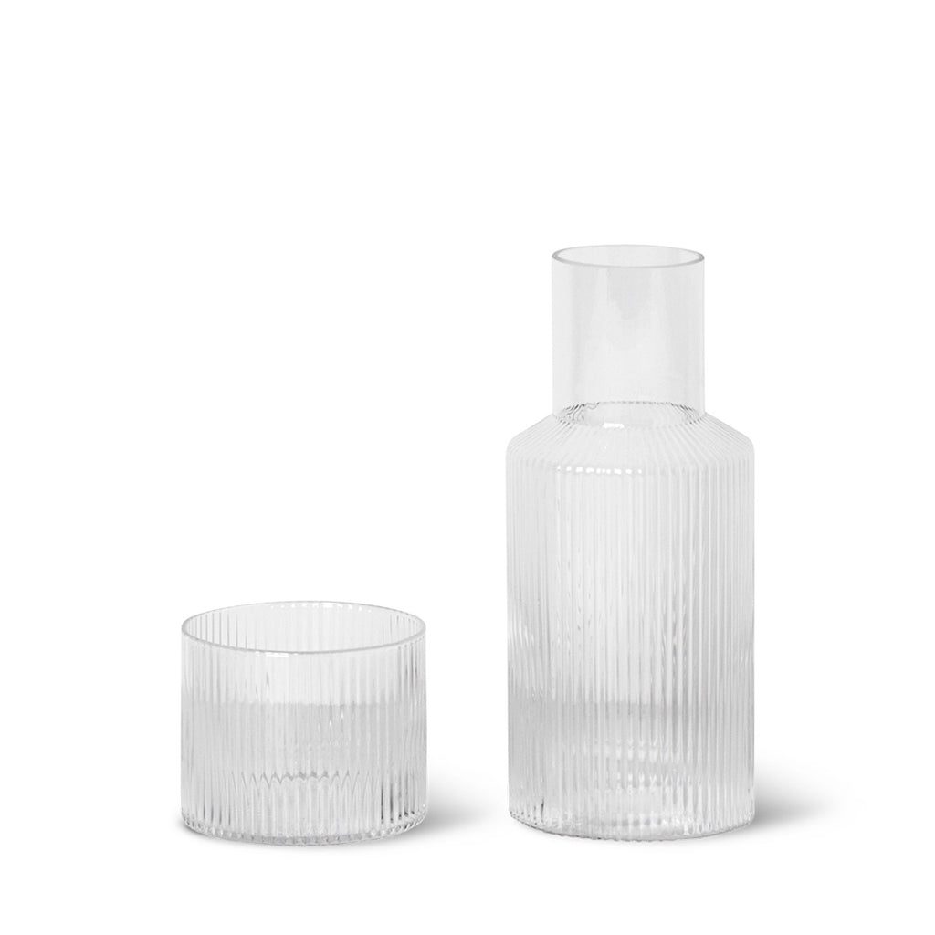 Ferm Living Ripple Carafe Set in Clear