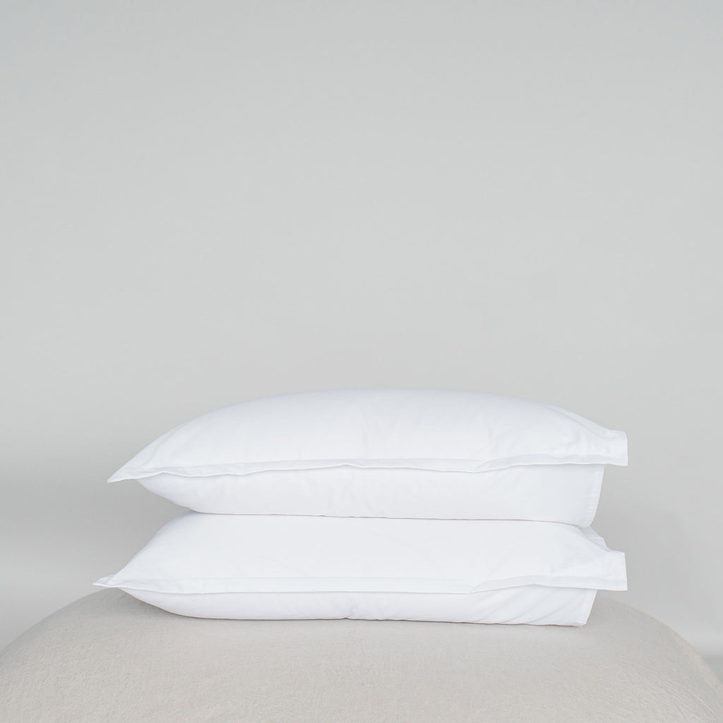 Organic Cotton Flange Pillowcase Set Alpine White
