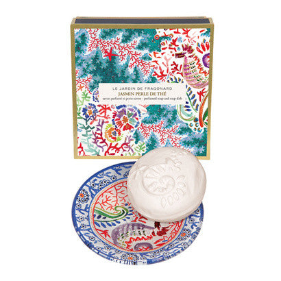 Fragonard Jasmin Perle de The Perfumed Soap and Soap Dish