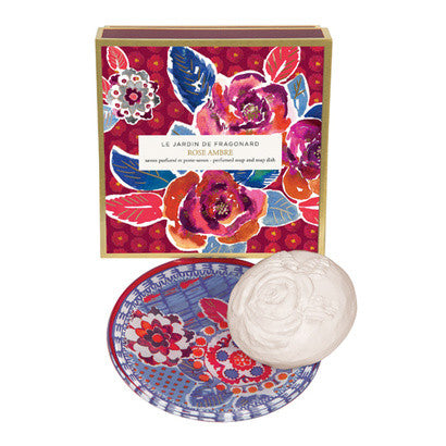 Fragonard Rose Ambre Perfumed Soap and Soap Dish