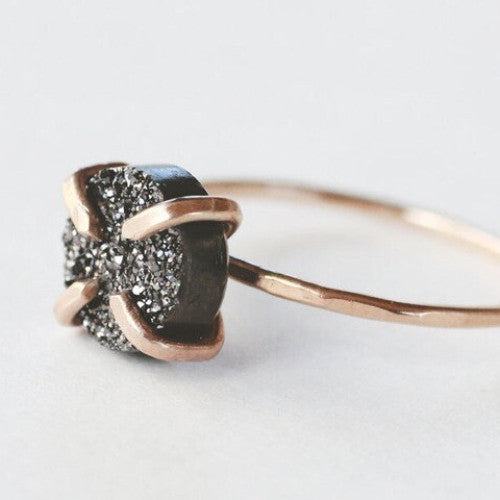 Foe & Dear Black Druzy Ring