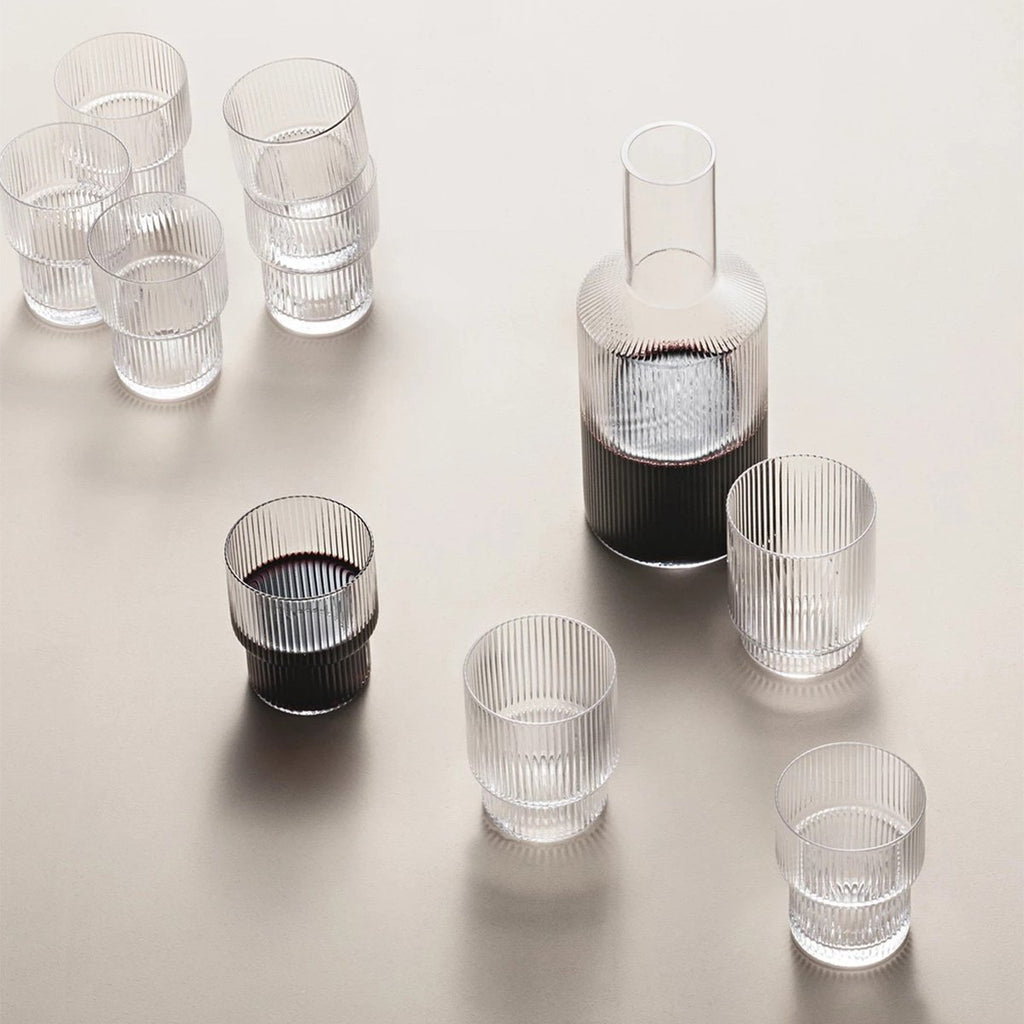 Ferm Living Ripple Carafe and Small Glasses in Clear