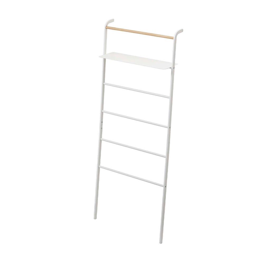 Yamazaki Tower Leaning Ladder with Shelf White