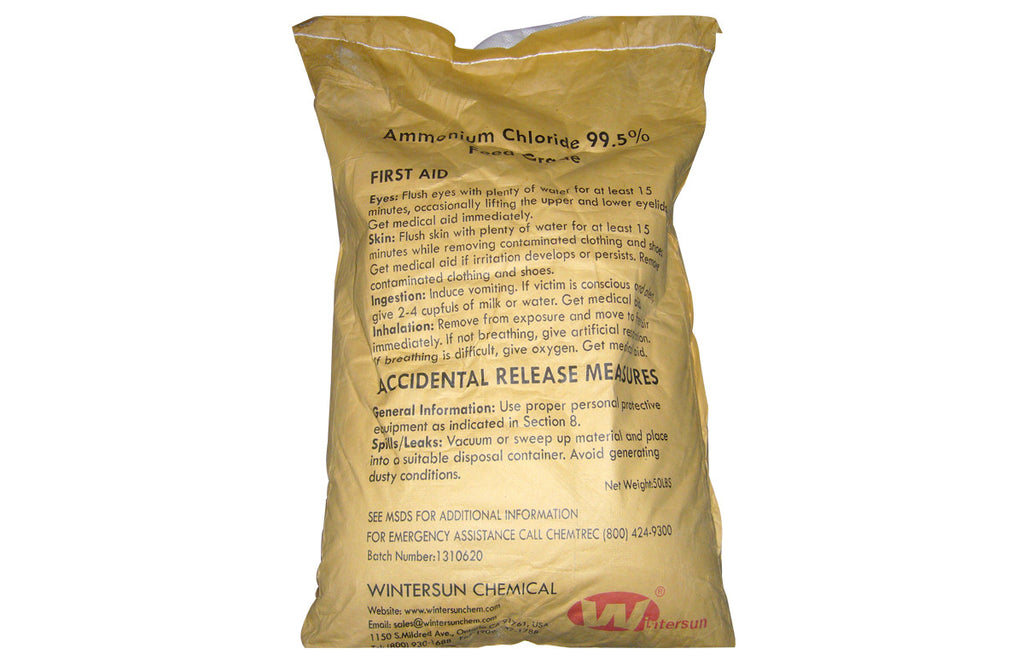 Ammonium Chloride [NH4Cl] [CAS_12125-02-9] 99.5+% Feed Grade, White Crystals (50 Lb Bag)