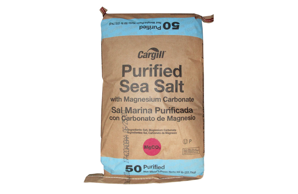 Cargill Purified Sea Salt with Magnesium Carbonate [NaCl] [CAS_7647-14-5] 99.7 Min White Crystalline Solid (50 Lb Bag)