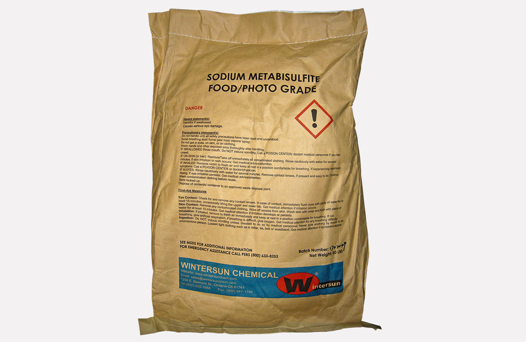 Sodium Metabisulfite [Na2S2O5] [CAS_7681-57-4] Food / Photo Grade 97+% White / Slightly Yellow Powder (50 Lb Bag)