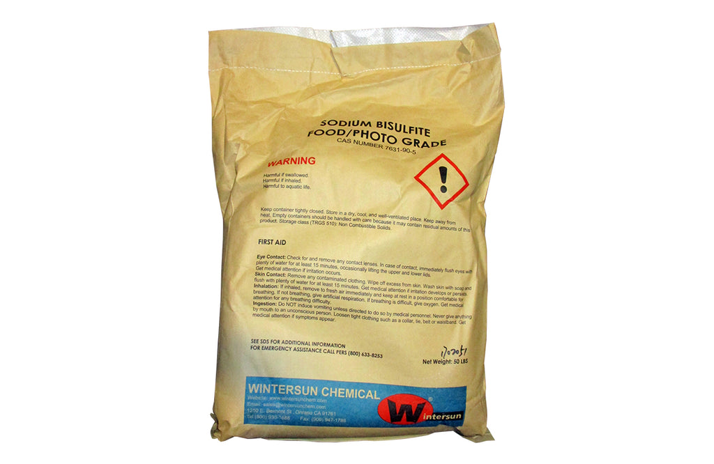 Sodium Bisulfite Anhydrous [NaHSO3] [CAS_7631-90-5] 99+% Food Grade / Photo Grade, White Crystal Grain (50 Lb Bag)