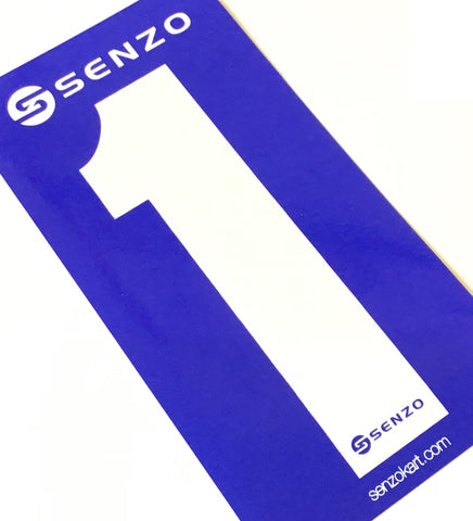 Set of 4 Senzo White Race Number Blue Background