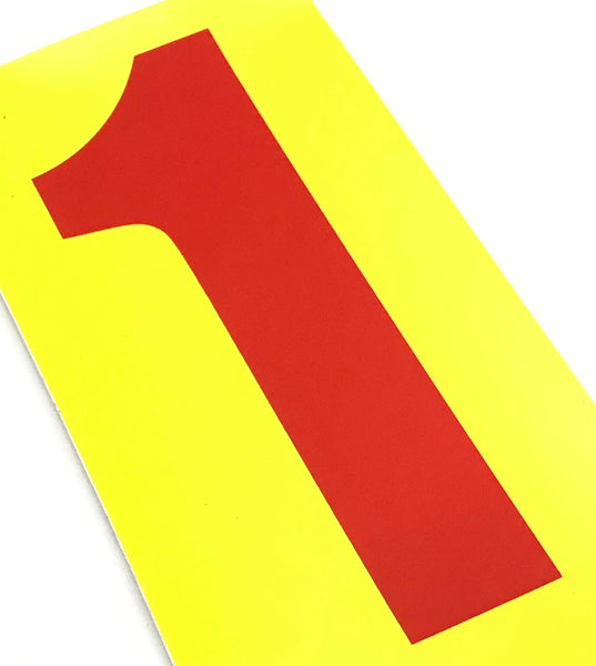 Set of 4 Red Number On Yellow Background