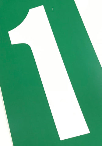 Set of 4 White Number On Green Background